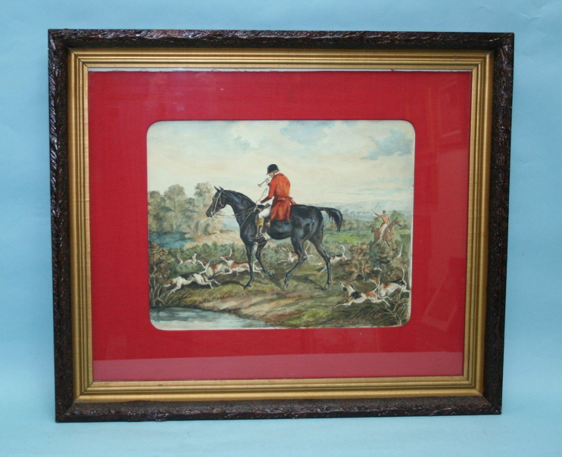 "302: ""The Foxhunt"". A colourful early 20th century wate"