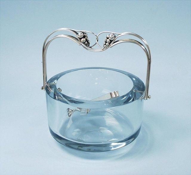 A Scandinavian aquamarine crystal ice bucket