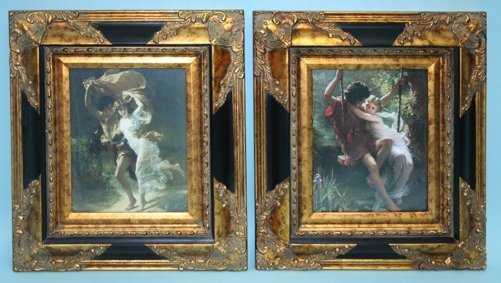 A pair of well framed romantic prints. EAch 1