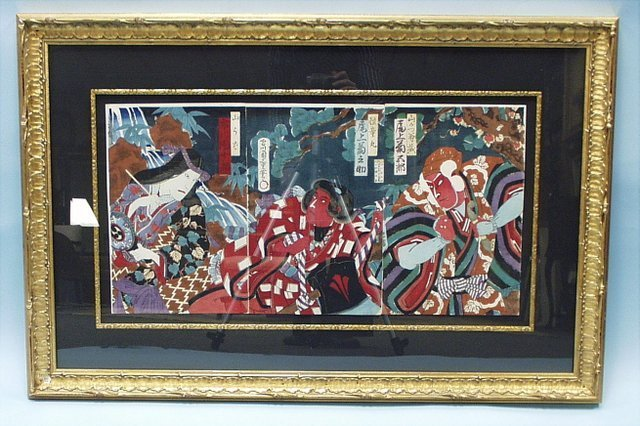 314: A large antique Japanese hand painted tryptich wit