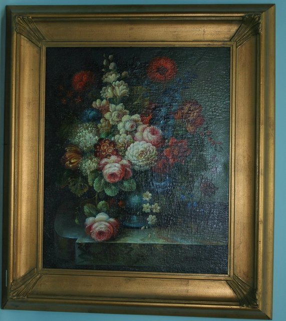 """319: Stillife with flowers. Oil on canvas. 23 1/2"""" x 19"""