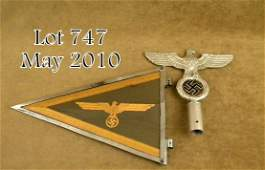 747: Lot of WWII German naval flag officer's car penna