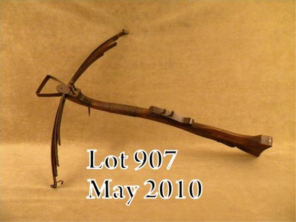 """907: Reproduction cross bow, approx. 32"""" overall with"""