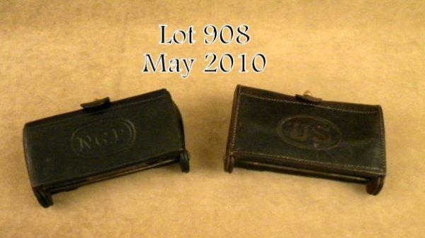 908: Lot of 2 U.S. Indian Wars era leather cartridge  p