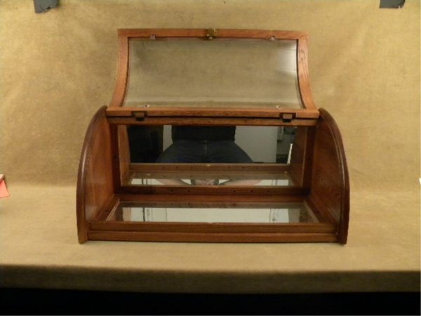 912: Small oak and glass bow front display case,  appro