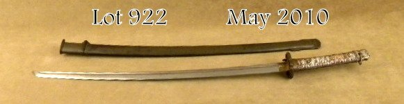 922: World War II military samurai-style sword and  met