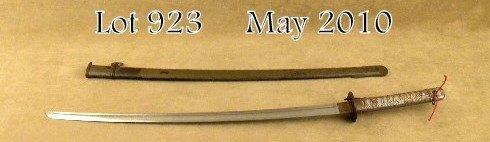923: World War II military samurai-style sword and  met