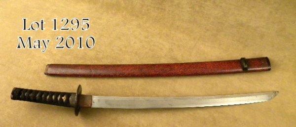 1295: Japanese Wakizashi or medium sized sword in  trad