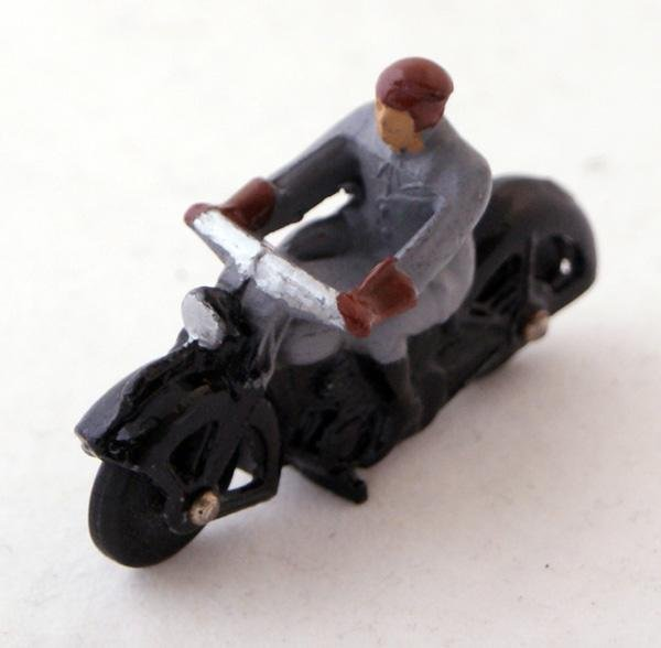 6: Unboxed Dinky # 37a Civilian Motorcyclist.  Grey Rid