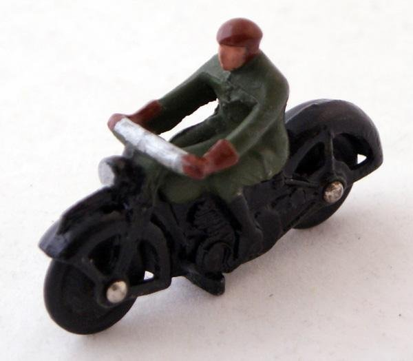 7: Unboxed Dinky # 37a Civilian Motorcyclist.  Green Ri