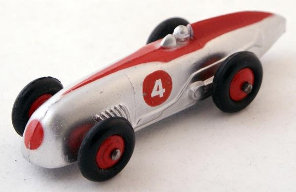 21: Unboxed Dinky # 23a Racing Car.  Silver with Red fl