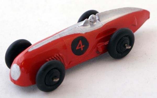 22: Unboxed Dinky # 23a Racing Car.  Red with Silver fl
