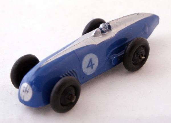 23: Unboxed Dinky # 23a Racing Car.  Saxe Blue with Sil