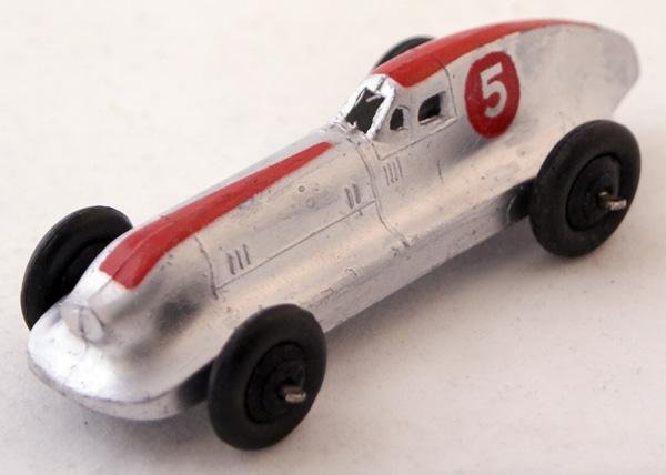 24: Unboxed Dinky # 23b Hotchkiss Racing Car.  Silver w