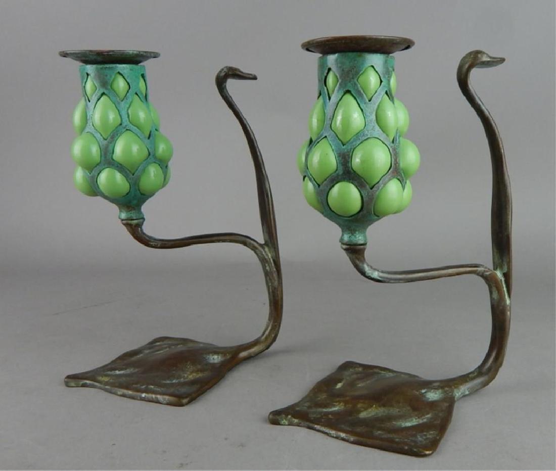 Tiffany Style Fluer de lis Bronze Candle Holders