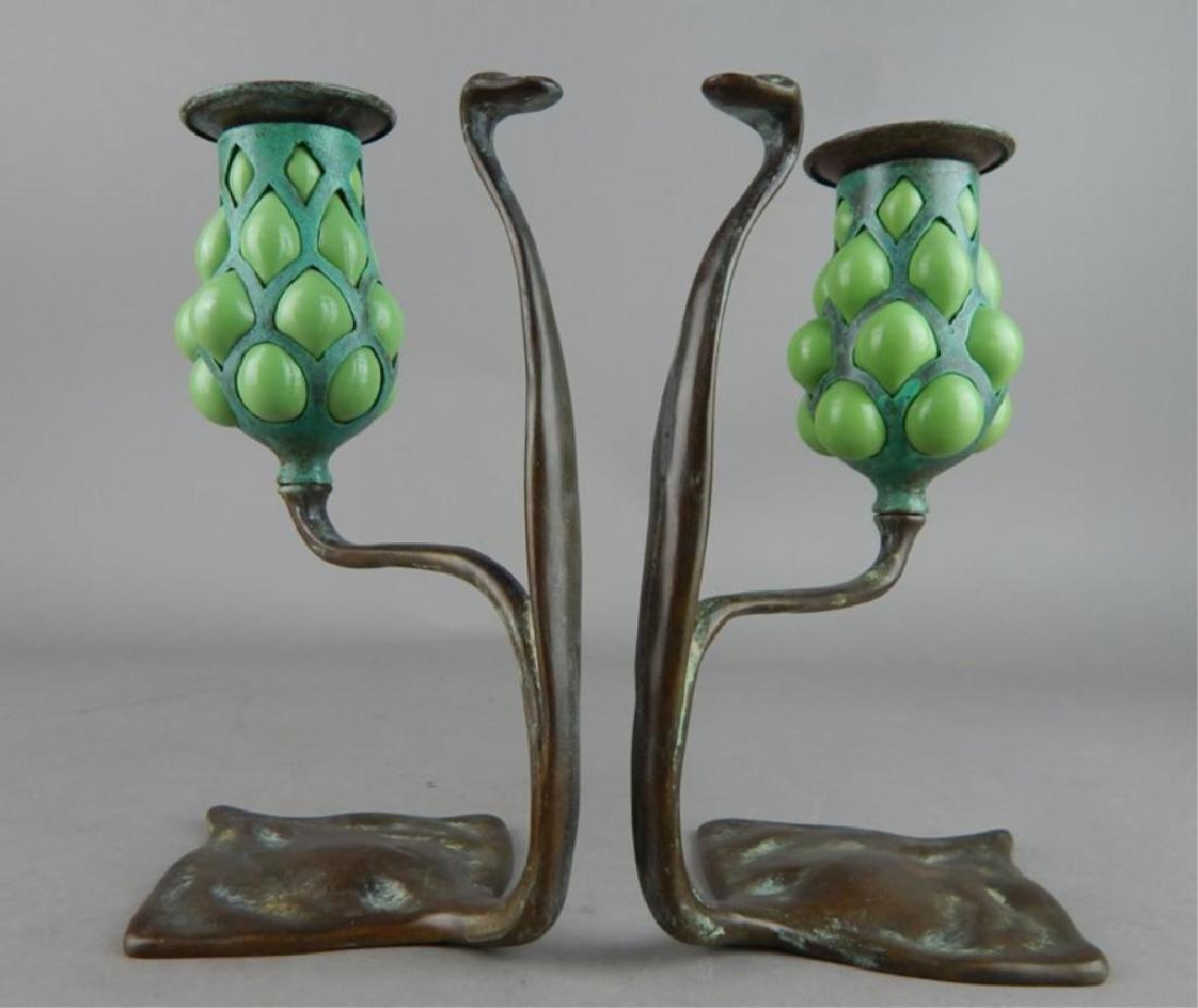 Tiffany Style Fluer de lis Bronze Candle Holders - 2