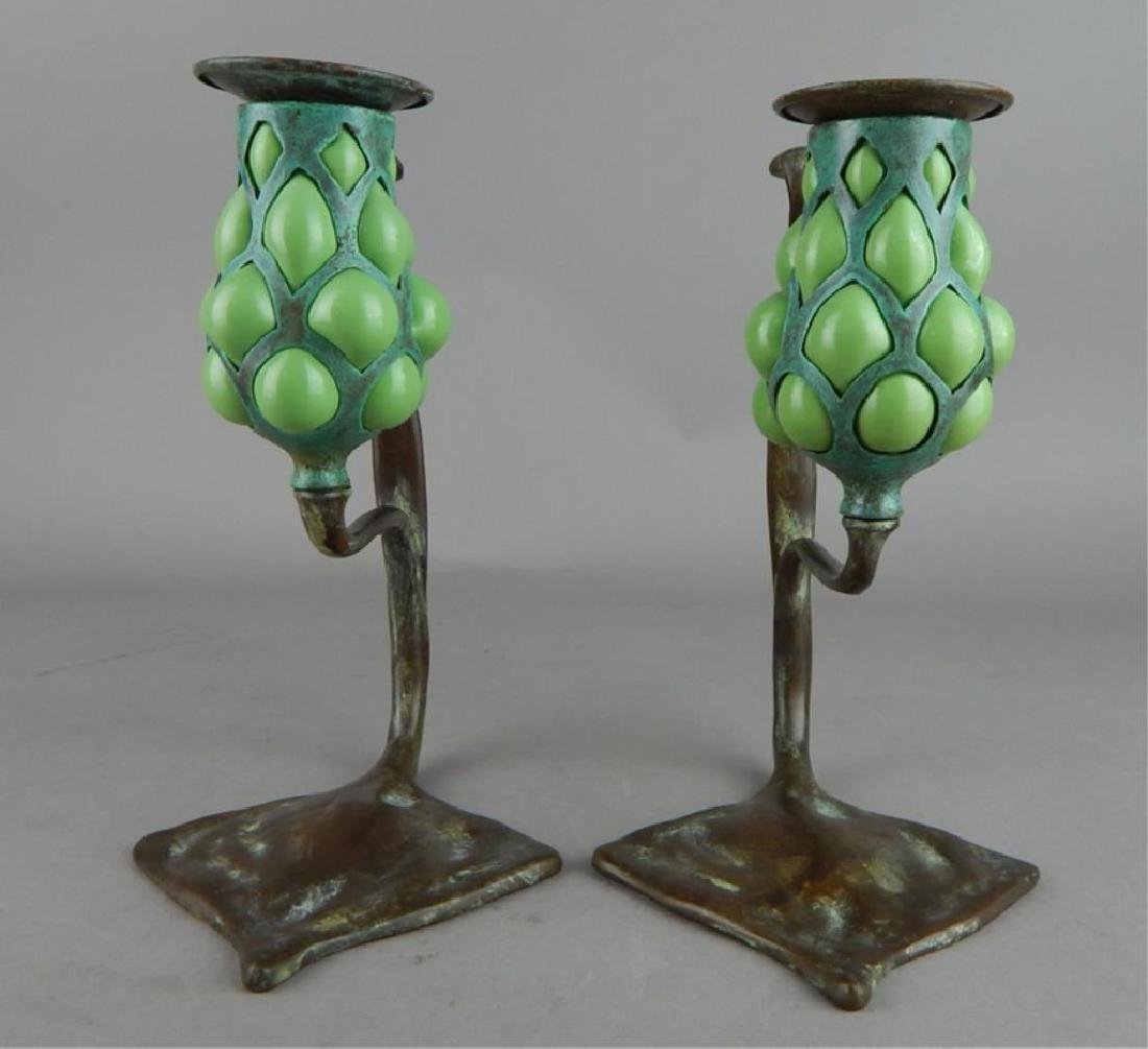 Tiffany Style Fluer de lis Bronze Candle Holders - 3