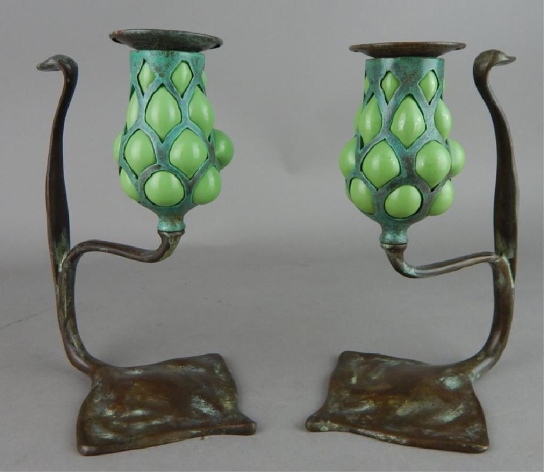 Tiffany Style Fluer de lis Bronze Candle Holders - 4