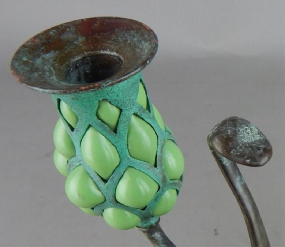 Tiffany Style Fluer de lis Bronze Candle Holders - 5