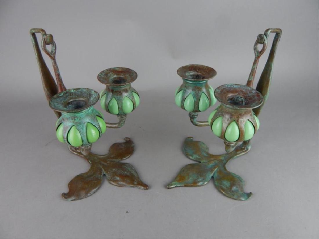 Tiffany Style Fleur de lis Bronze Candle Holders - 2
