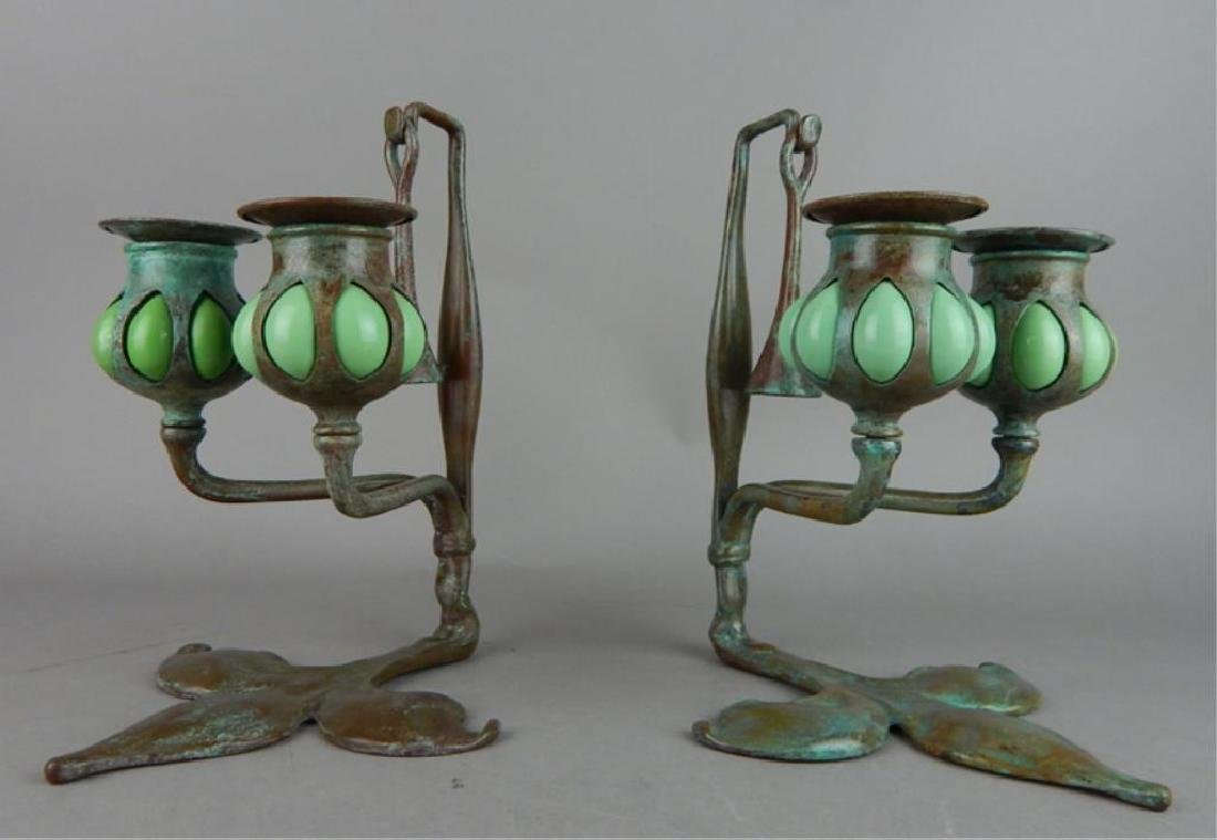 Tiffany Style Fleur de lis Bronze Candle Holders - 4