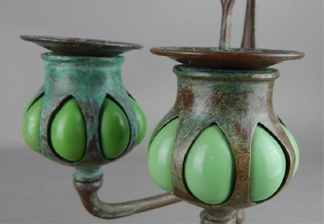 Tiffany Style Fleur de lis Bronze Candle Holders - 5