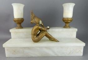 Original Antique Art Deco Harlequin Lamp