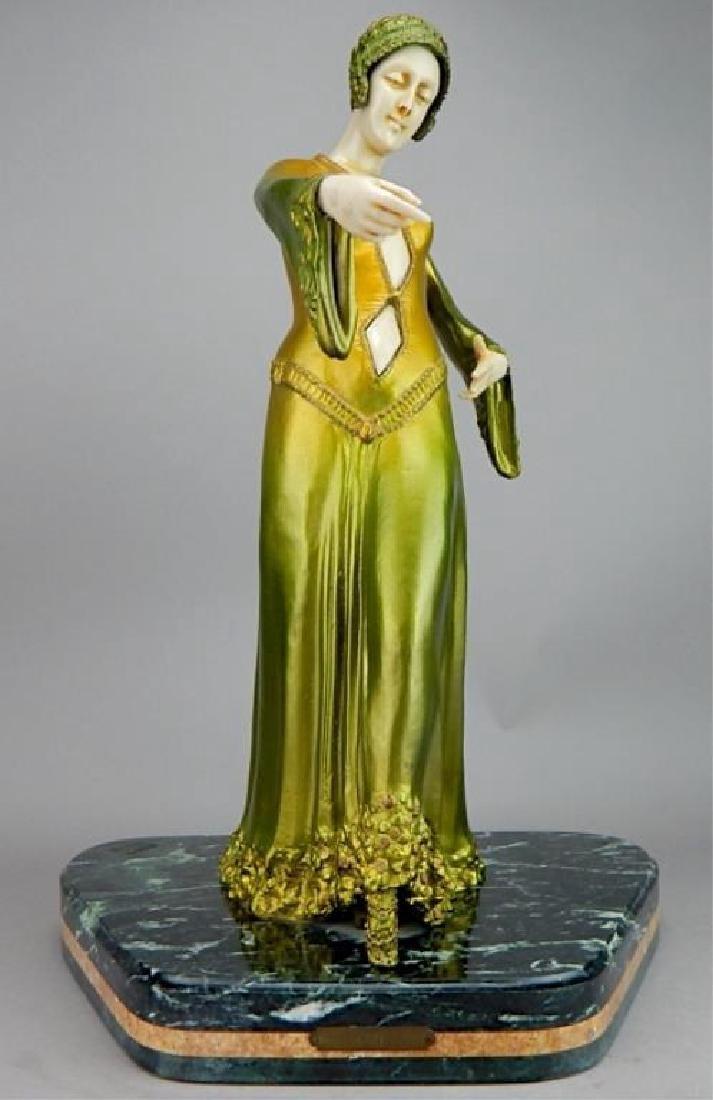 Art Deco Renaissance Girl in Long Green Dress
