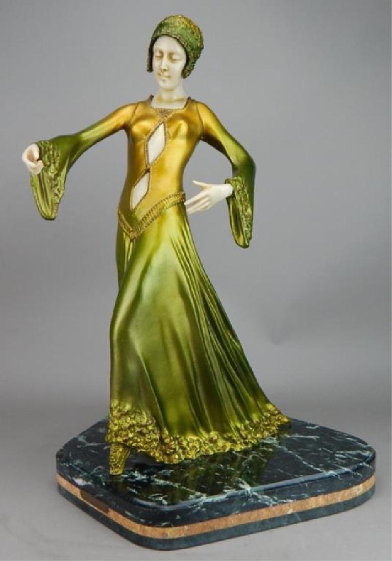Art Deco Renaissance Girl in Long Green Dress - 2