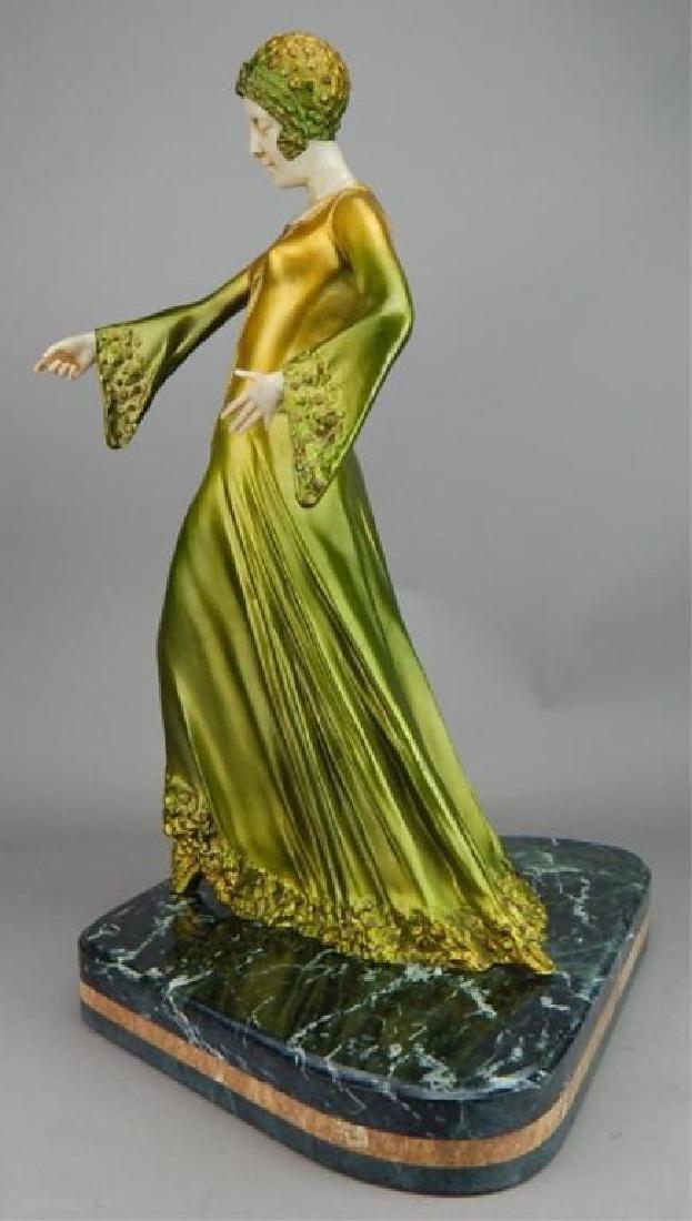 Art Deco Renaissance Girl in Long Green Dress - 3
