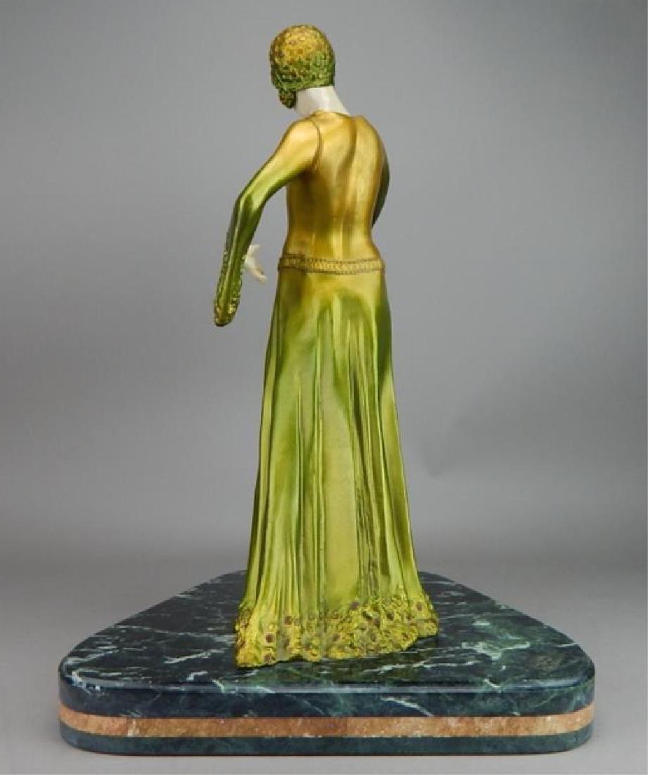 Art Deco Renaissance Girl in Long Green Dress - 4
