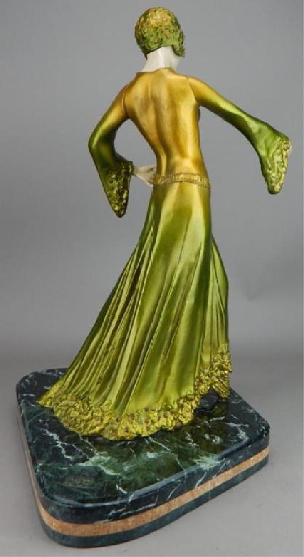Art Deco Renaissance Girl in Long Green Dress - 5
