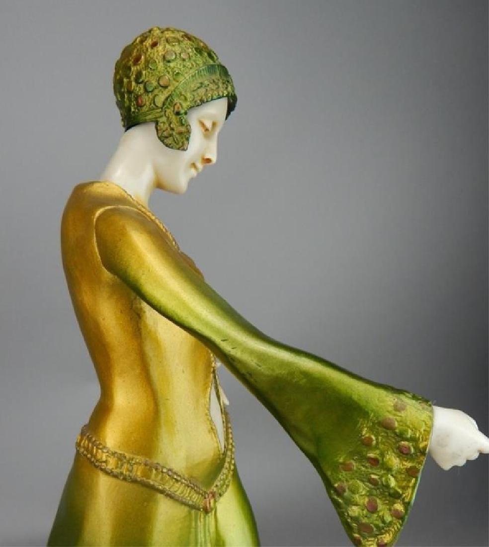 Art Deco Renaissance Girl in Long Green Dress - 6