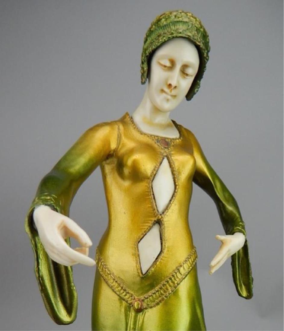 Art Deco Renaissance Girl in Long Green Dress - 7