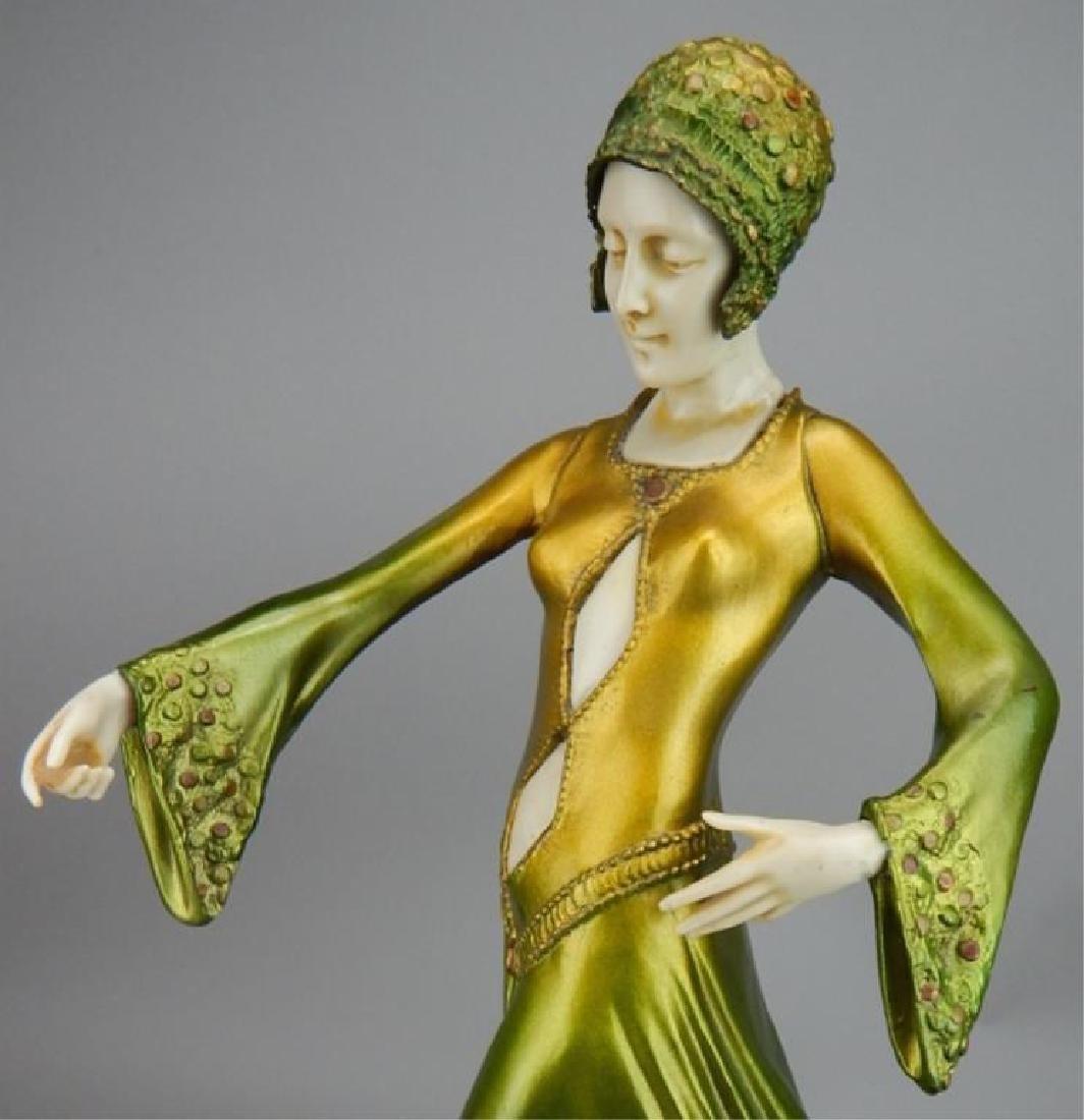 Art Deco Renaissance Girl in Long Green Dress - 8