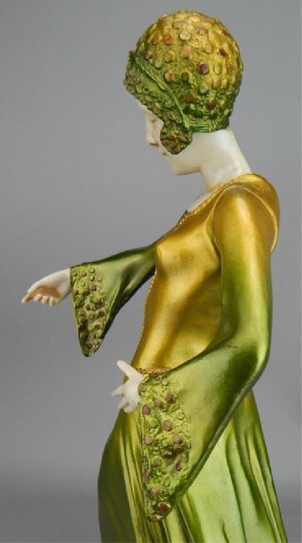 Art Deco Renaissance Girl in Long Green Dress - 9