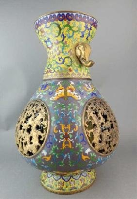 Chinese Cloisonne Vase with Spinning Inside