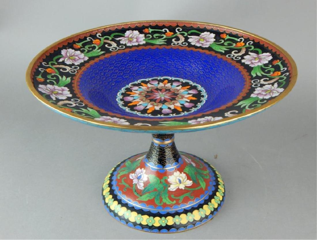 Chinese Cloisonne Pedestal Centerpiece