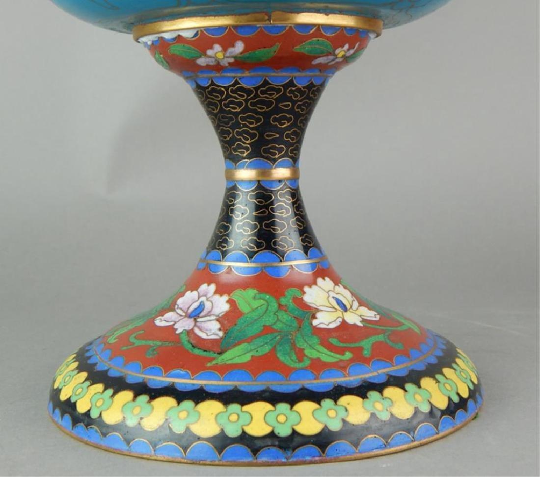 Chinese Cloisonne Pedestal Centerpiece - 5