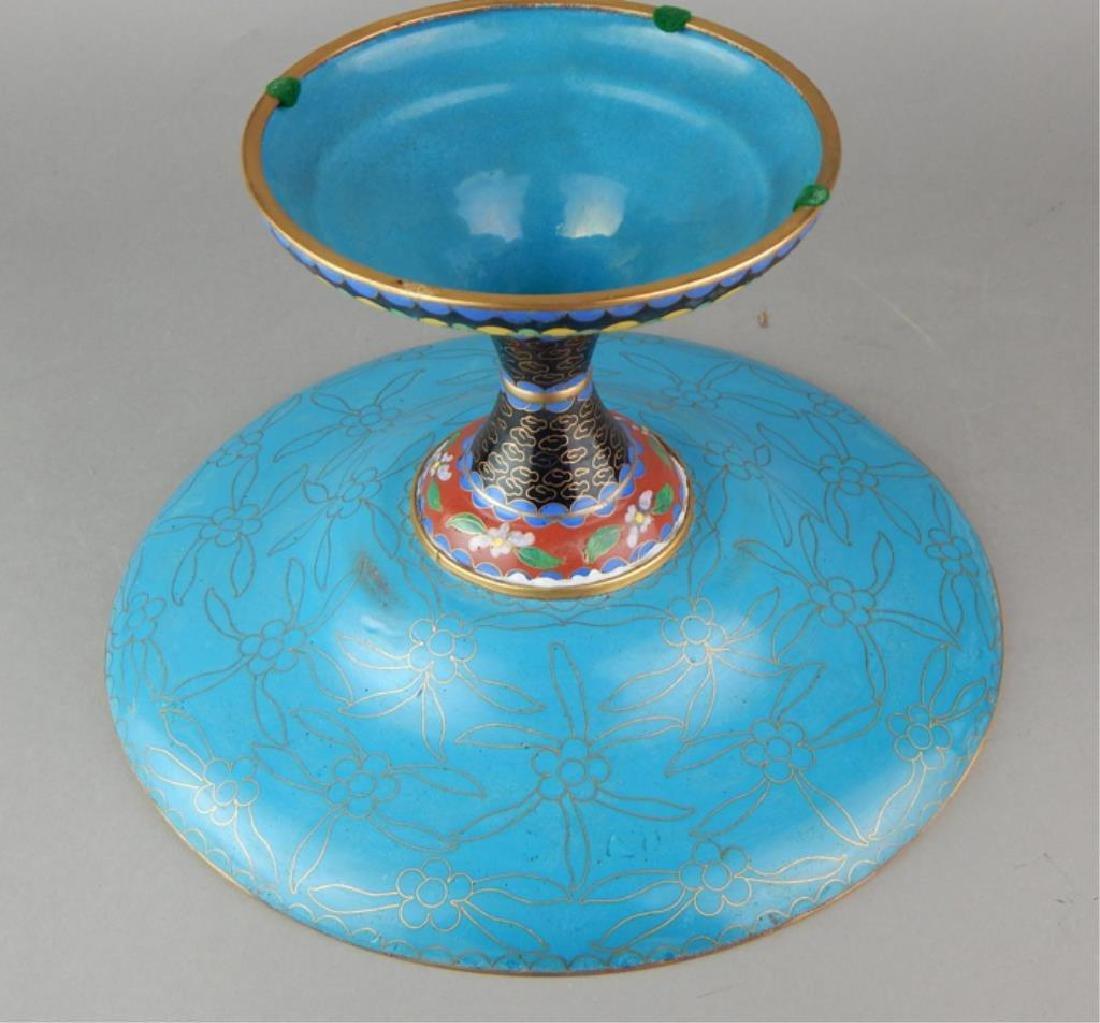 Chinese Cloisonne Pedestal Centerpiece - 6