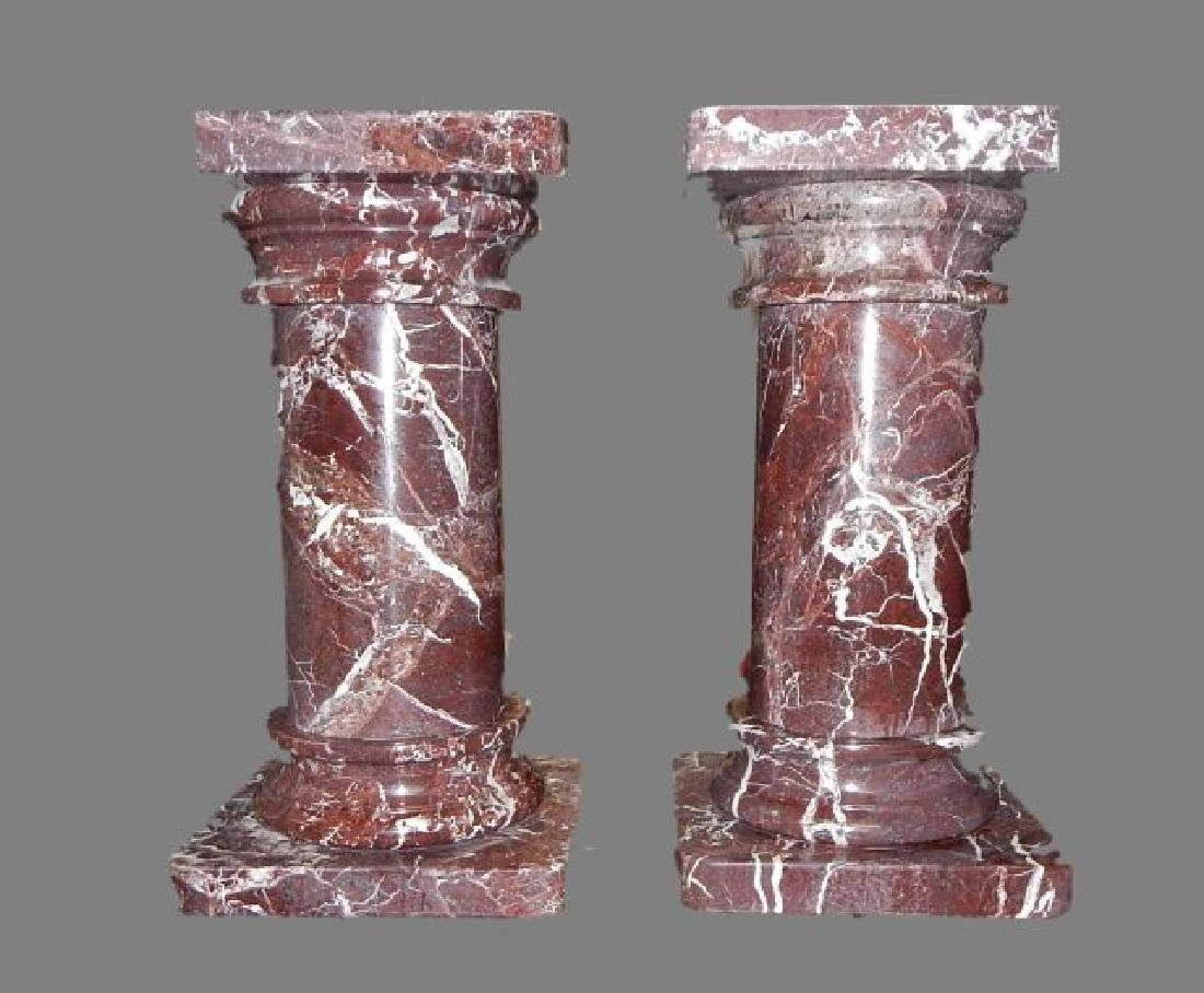 Pair of Rouge Marble Pedestals