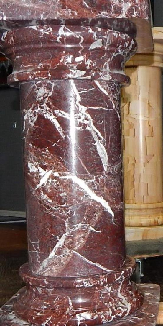 Pair of Rouge Marble Pedestals - 3