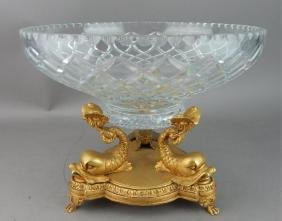 Empire Style Dore Bronze & Crystal Centerpiece