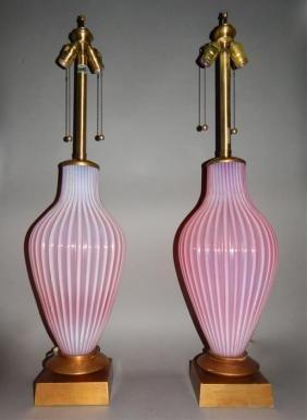 Fabulous Pair Murano Cranberry Art Glass Lamps