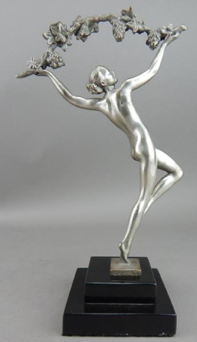 Art Deco Style Bronze Nude Dancer w/ Garland