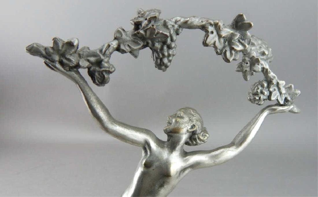 Art Deco Style Bronze Nude Dancer w/ Garland - 2