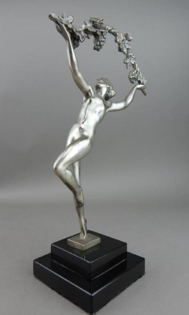 Art Deco Style Bronze Nude Dancer w/ Garland - 4