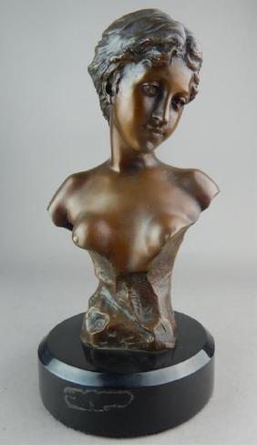 Art Deco Bronze Lady Bust on Black Marble