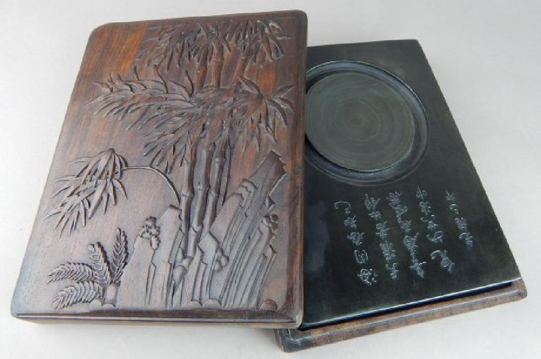 Chinese Carved Bamboo Shoots Ink Stone Box
