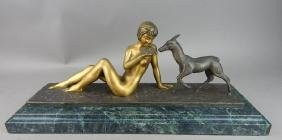 Original Antique Art Deco Bronze Girl with Goat